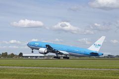 Amsterdam Airport Schiphol - Boeing 777 of KLM takes off Royalty Free Stock Photo