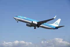 Amsterdam Airport Schiphol - Boeing 737 of KLM takes off Royalty Free Stock Image