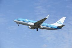 Amsterdam Airport Schiphol - Boeing 737 of KLM takes off Stock Image