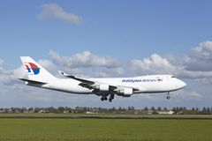 Amsterdam Airport Schiphol - Boeing 747 of MAS-Cargo lands stock image