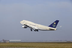 Amsterdam Airport Schiphol - Boeing 747 of Saudia Cargo takes off Royalty Free Stock Images