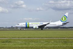 Amsterdam Airport Schiphol - Boeing 737 of Transavia takes off Royalty Free Stock Photo