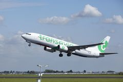 Amsterdam Airport Schiphol - Boeing 737 of Transavia takes off Stock Photo