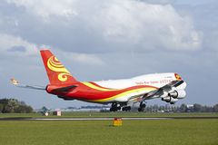 Amsterdam Airport Schiphol - Boeing 747 of Yangtze River Express lands Stock Image