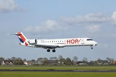 Amsterdam Airport Schiphol - Canadair CRJ-700 of HOP! lands Stock Photo