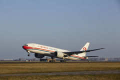 Amsterdam Airport Schiphol - China Cargo Airlines Boeing 777 takes off royalty free stock image