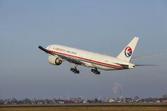 Amsterdam Airport Schiphol - China Cargo Airlines Boeing 777 takes off royalty free stock photo