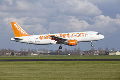 Amsterdam Airport Schiphol - Easyjet Airbus A320 lands stock image