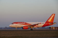 Amsterdam Airport Schiphol - EasyJet Airbus A319 takes off stock images