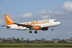 Amsterdam Airport Schiphol - A319 of EasyJet lands Royalty Free Stock Photo