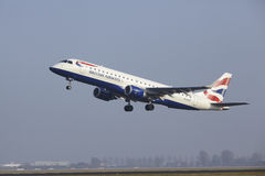 Amsterdam Airport Schiphol - Embraer 190 of British Airways takes off Stock Image