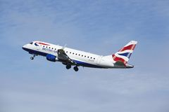 Amsterdam Airport Schiphol - Embraer ERJ-170 of British Airways takes off Royalty Free Stock Photography