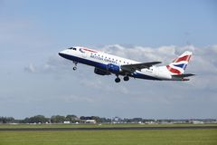 Amsterdam Airport Schiphol - Embraer ERJ-170 of British Airways takes off Stock Photography
