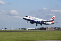 Amsterdam Airport Schiphol - Embraer ERJ-170 of British Airways takes off Royalty Free Stock Photos