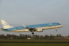 Amsterdam Airport Schiphol - Embraer ERJ-190 of KLM Cityhopper lands Royalty Free Stock Images