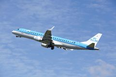 Amsterdam Airport Schiphol - Embraer ERJ-190 of KLM Cityhopper takes off Stock Photography