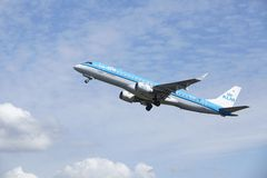 Amsterdam Airport Schiphol - Embraer ERJ-190 of KLM Cityhopper takes off Royalty Free Stock Image