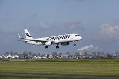 Amsterdam Airport Schiphol - Finnair Airbus A321 lands Royalty Free Stock Photos