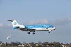 Amsterdam Airport Schiphol - Fokker 70 of KLM Cityjopper lands Stock Photos