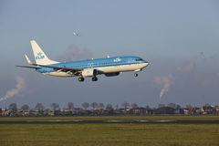 Amsterdam Airport Schiphol - KLM Boeing 737 lands. The KLM Boeing 737-8K2 with identification PH-BCD lands at Amsterdam Airport Schiphol The Netherlands, AMS royalty free stock image