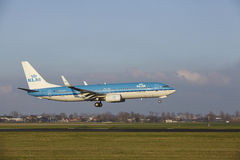 Amsterdam Airport Schiphol - KLM Boeing 737 lands. The KLM Boeing 737-8K2 with identification PH-BCD lands at Amsterdam Airport Schiphol The Netherlands, AMS royalty free stock photo