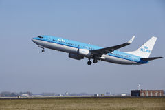 Amsterdam Airport Schiphol - KLM Boeing 737 takes off Royalty Free Stock Photo