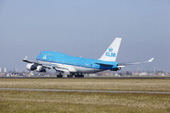 Amsterdam Airport Schiphol - KLM Boeing 747 takes off Royalty Free Stock Photo