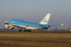 Amsterdam Airport Schiphol - KLM Boeing 747 takes off Royalty Free Stock Image