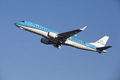 Amsterdam Airport Schiphol - KLM Cityhopper Embraer 190 takes off Stock Photography