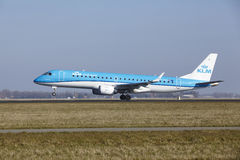 Amsterdam Airport Schiphol - KLM Cityhopper Embraer 190 takes off Royalty Free Stock Images
