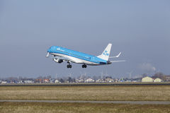 Amsterdam Airport Schiphol - KLM Cityhopper Embraer 190 takes off Royalty Free Stock Photo