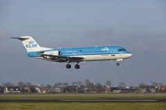 Amsterdam Airport Schiphol - KLM Cityhopper Fokker 70 lands Stock Images
