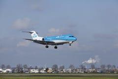Amsterdam Airport Schiphol - KLM Cityhopper Fokker 70 lands Royalty Free Stock Photos