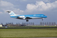 Amsterdam Airport Schiphol - KLM Cityhopper Fokker 70 lands Royalty Free Stock Photography