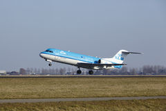 Amsterdam Airport Schiphol - KLM Cityhopper Fokker 70 takes off Royalty Free Stock Image