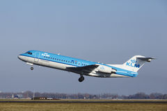 Amsterdam Airport Schiphol - KLM Cityhopper Fokker 70 takes off Royalty Free Stock Photos