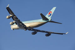 Amsterdam Airport Schiphol - Korean Air Cargo Boeing 747 takes off Royalty Free Stock Images