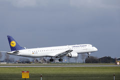 Amsterdam Airport Schiphol - Lufthansa CityLine Embraer 195 lands Stock Photo