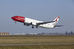 Amsterdam Airport Schiphol - Norwegian Airlines Boeing 737 takes off. The Norwegian Airlines Boeing 737-8JP (Sigrid Undset Livery) with identification LN-NGY Stock Photos
