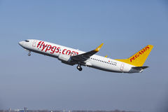 Amsterdam Airport Schiphol - Pegasus Airlines Boeing 737 takes off Stock Photo