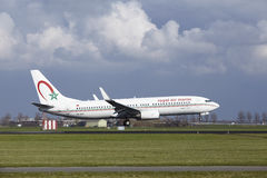 Amsterdam Airport Schiphol - Royal Air Maroc Boeing 737 lands Royalty Free Stock Photography