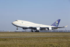Amsterdam Airport Schiphol - Saudia Cargo Boeing 747 takes off Royalty Free Stock Photo