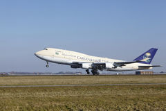 Amsterdam Airport Schiphol - Saudia Cargo Boeing 747 takes off Royalty Free Stock Photos