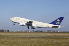 Amsterdam Airport Schiphol - Saudia Cargo Boeing 747 takes off Stock Image