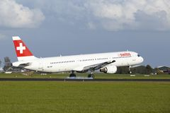 Amsterdam Airport Schiphol - A321 of Swiss lands Stock Image