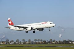 Amsterdam Airport Schiphol - A321 of Swiss lands Royalty Free Stock Images