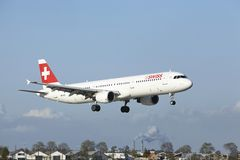Amsterdam Airport Schiphol - A321 of Swiss lands Royalty Free Stock Photo