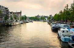 Amsterdam al tramonto Fotografia Stock Libera da Diritti