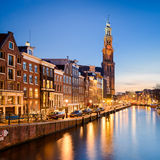 Amsterdam alla notte, Paesi Bassi Fotografie Stock