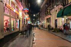 Amsterdam alley at night Royalty Free Stock Photography